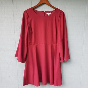 H by Halston Flare Sleeve Burgundy Red Dress LS 8